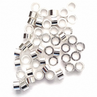 50 Sterling Silver Tube Crimp Beads 2X1mm Findings